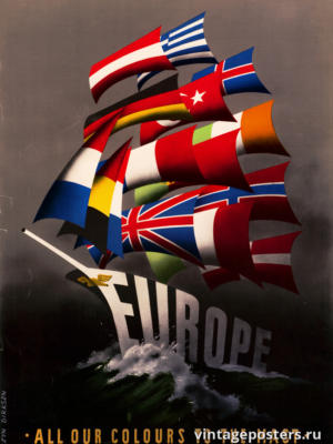 """Винтажный Ретро Постер """"Все наши паруса на мачты!"""" США 1947 для интерьера купить"""