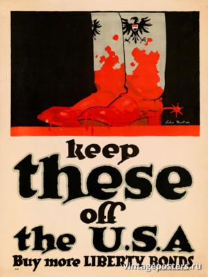 """Винтажный Ретро Постер """"Держите их подальше, покупайте Займы Свободы"""" США 1918 для интерьера купить"""