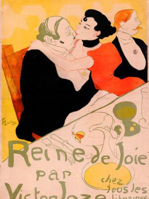"""Винтажный Ретро Постер """"«Королева радости» Виктора Жозе у всех книготорговцев"""" Франция 1892 для интерьера купить"""