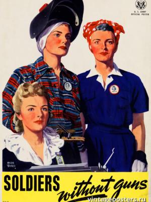 """Винтажный Ретро Постер """"Солдаты без оружия"""" США 1943 для интерьера купить"""