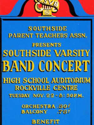 """Винтажный Ретро Постер """"Концерт «Southside Varsity Band»"""" США 1938 для интерьера купить"""