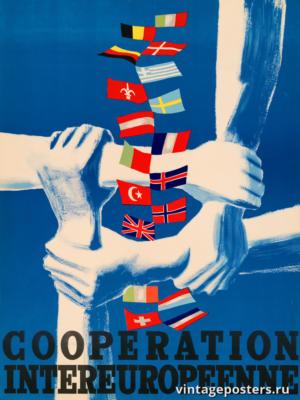 """Винтажный Ретро Постер """"Европейское сотрудничество"""" Нидерланды 1947 для интерьера купить"""