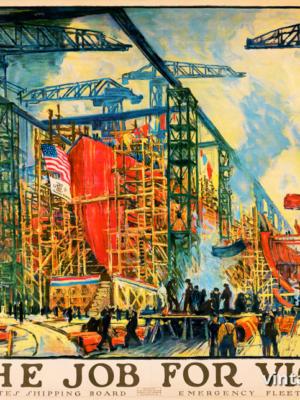"""Винтажный Ретро Постер """"Работа для победы"""" США 1918 для интерьера купить"""