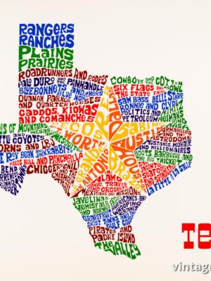 """Винтажный Ретро Постер """"Техас — штат одинокой звезды"""" США 1968 для интерьера купить"""