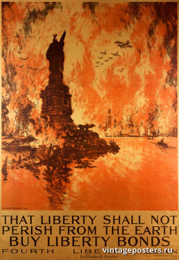 """Винтажный Ретро Постер """"Эта свобода не исчезнет с лица земли"""" США 1918 для интерьера купить"""