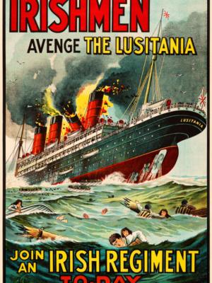 """Винтажный Ретро Постер """"Ирландцы - отомстите за Лузитанию"""" Ирландия 1915 для интерьера купить"""