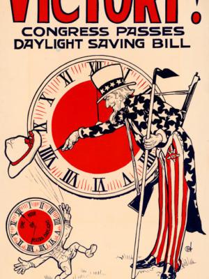 """Винтажный Ретро Постер """"Победа! Конгресс принял закон о переходе на летнее время"""" США 1918 для интерьера купить"""