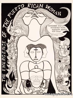 """Винтажный Ретро Постер """"Появление пуэрториканской женщины"""" США 1979 для интерьера купить"""