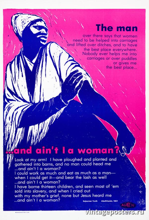 """Винтажный Ретро Постер """"А разве я не женщина?"""" США 1971 для интерьера купить"""
