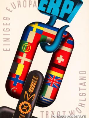 """Винтажный Ретро Постер """"ERP несет процветание Европе"""" Нидерланды 1950 для интерьера купить"""