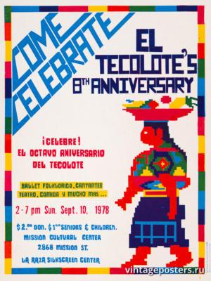 """Винтажный Ретро Постер """"Приходите отпраздновать 8-ю годовщину газеты «El Tecolote»"""" США 1978 для интерьера купить"""