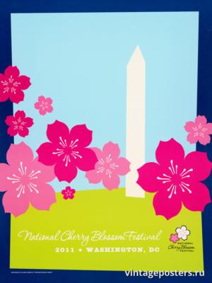 """Винтажный Ретро Постер """"Национальный фестиваль цветения сакуры"""" США 2011 для интерьера купить"""