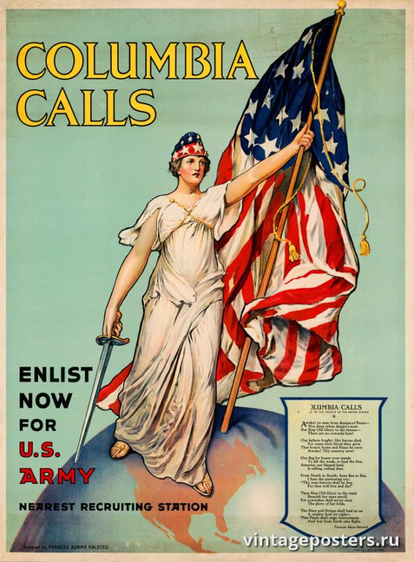 """Винтажный Ретро Постер """"Колумбия призывает — запишись в армию"""" США 1916 для интерьера купить"""