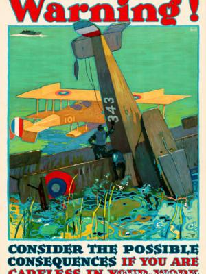 """Винтажный Ретро Постер """"Внимание! Учитывай последствия своей небрежности в работе"""" США 1917 для интерьера купить"""