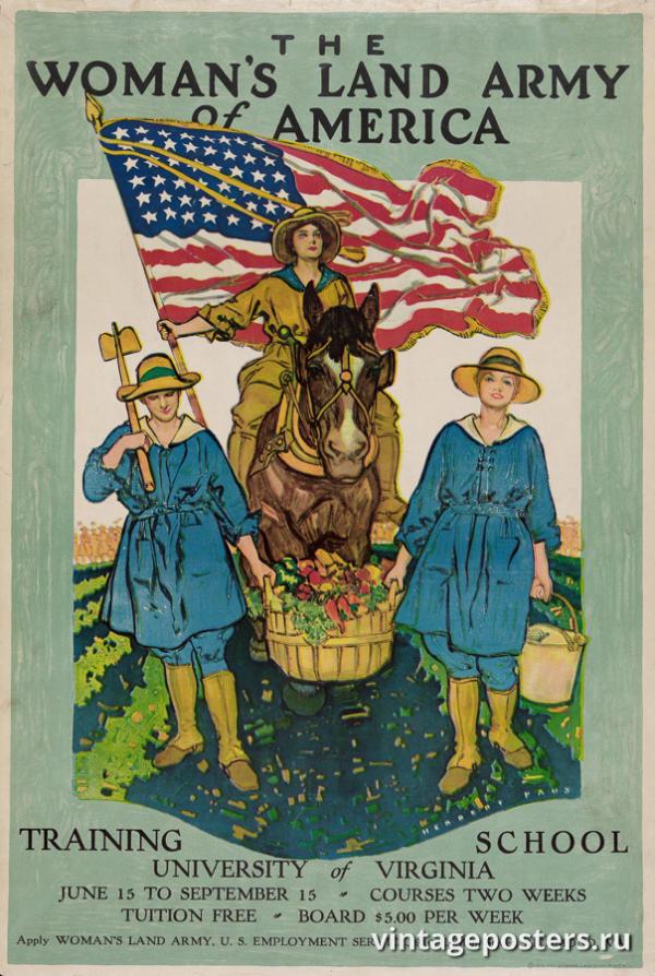 """Винтажный Ретро Постер """"Женская Сухопутная Армия Америки"""" США 1918 для интерьера купить"""