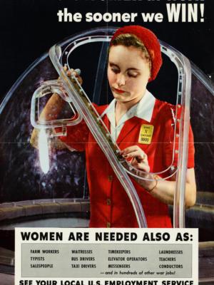 """Винтажный Ретро Постер """"Чем больше женщин на работе, тем быстрее мы победим!"""" США 1943 для интерьера купить"""