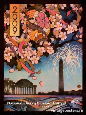 """Винтажный Ретро Постер """"Национальный фестиваль цветения сакуры"""" США 2009 для интерьера купить"""