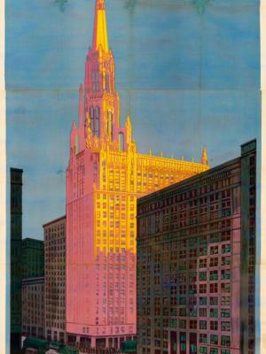 """Винтажный Ретро Постер """"Храм в Чикаго от компании «Chicago Rapid Transit»"""" США 1925 для интерьера купить"""
