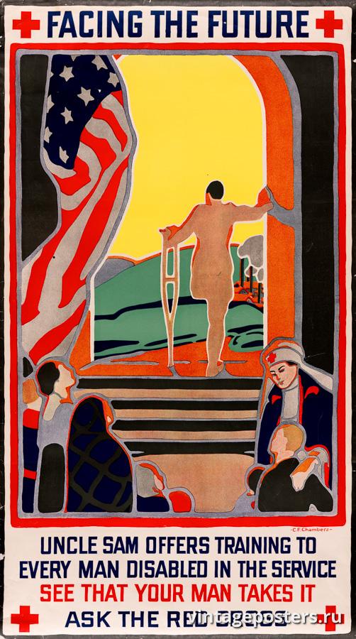 """Винтажный Ретро Постер """"Лицом к лицу с будущим"""" США 1919 для интерьера купить"""
