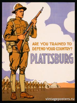 """Винтажный Ретро Постер """"А вы обучены защищать свою страну? Платтсбург"""" США 1916 для интерьера купить"""