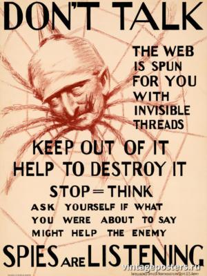 """Винтажный Ретро Постер """"Не разговаривайте - шпионы подслушивают"""" США 1918 для интерьера купить"""