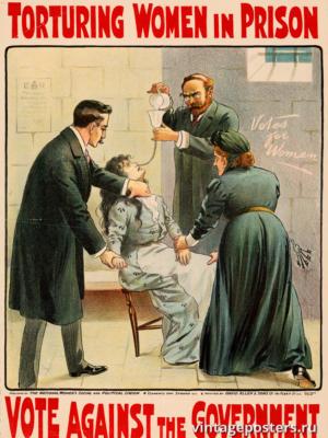 """Винтажный Ретро Постер """"Пытки женщин в тюрьмах. Голосуйте против правительства"""" Англия 1900 для интерьера купить"""