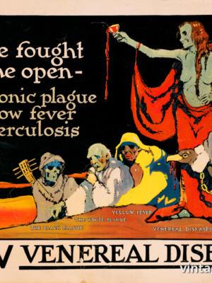 """Винтажный Ретро Постер """"Борьба началась: бубонная чума, желтая лихорадка, туберкулез, венерические болезни"""" США 1918 для интерьера купить"""