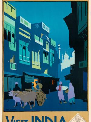 """Винтажный Ретро Постер """"Улица при лунном свете — Посетите Индию"""" Англия 1920 для интерьера купить"""
