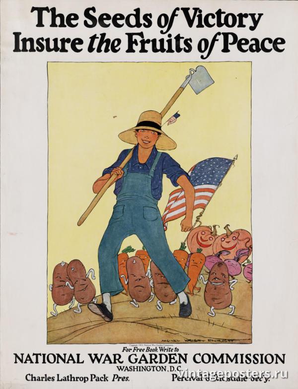 """Винтажный Ретро Постер """"Семена победы вырастают в плоды мира"""" США 1919 для интерьера купить"""