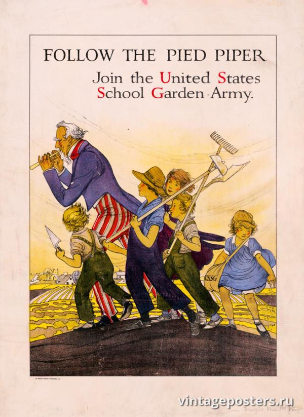 """Винтажный Ретро Постер """"Следуй за Крысоловом. Присоединяйтесь к армии школьных садов"""" США 1919 для интерьера купить"""