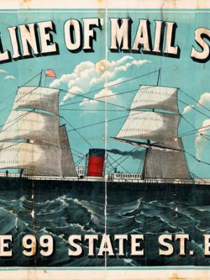 """Винтажный Ретро Постер """"Линия почтовых пароходов «Cunard»"""" США 1880 для интерьера купить"""