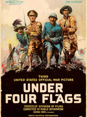 """Винтажный Ретро Постер """"Под четырьмя флагами"""" США 1917 для интерьера купить"""