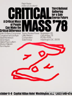 """Винтажный Ретро Постер """"Ральф Надер приглашает вас на Critical Mass '78"""" США 1978 для интерьера купить"""