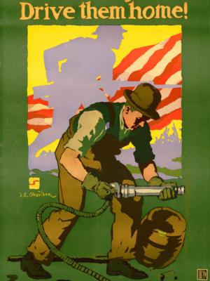 """Винтажный Ретро Постер """"Заклепки - это штыки - вернись домой!"""" США 1917 для интерьера купить"""