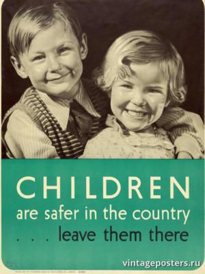 """Винтажный Ретро Постер """"Детям в стране безопаснее ..."""" Англия 1939 для интерьера купить"""